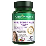 Hair, Skin + Nails Melt by Purity Products - 1000mcg B-12 + 2500mcg Biotin Energy Berry Melt - Delicious Berry Lemonade Flavor w/ Super Fruits - B12 Methylcobalamin - 30 Melting Tablets