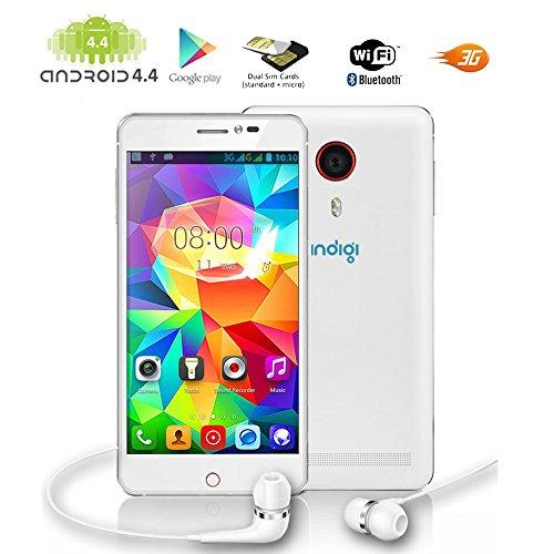Indigi® más rápido Dualcore V13 más reciente OS Android 4.4 KK 5.5 pulgadas 3G GSM+WCDMA SmartPhone Dual Camera w/Flash Dual Sim Stand, WiFi Sim Free Teléfono móvil