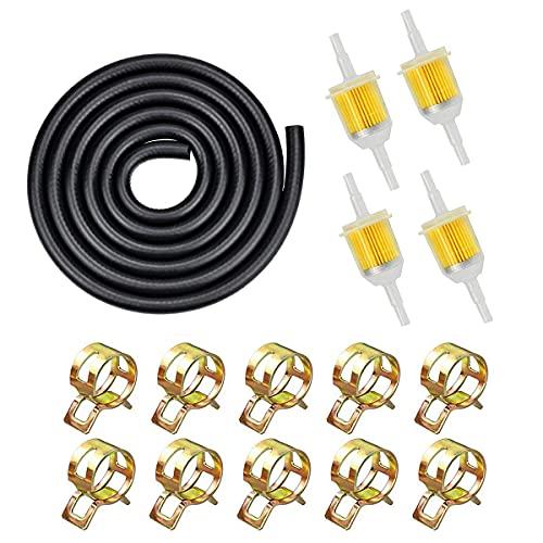 """1/4\"""" Zoll Benzinschlauch Kit, inkl 2M Ø 6mm Kraftstoffleitung + 4 Stück 6mm/8mm Benzinfilter + 10 Stück Schlauchschellen für rasenmäher Motorrad Roller"""