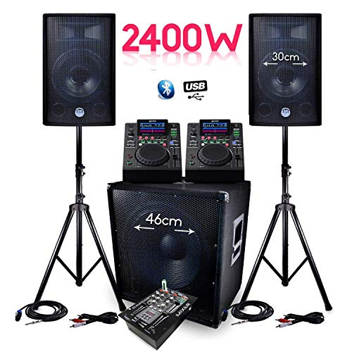 Sono Soundsystem BMS-1812,2.400°W, SUB 46°cm Lautsprecher + Mischpult DJM Bluetooth + Dual-Mediaplayer Gemini, USB + Kabel