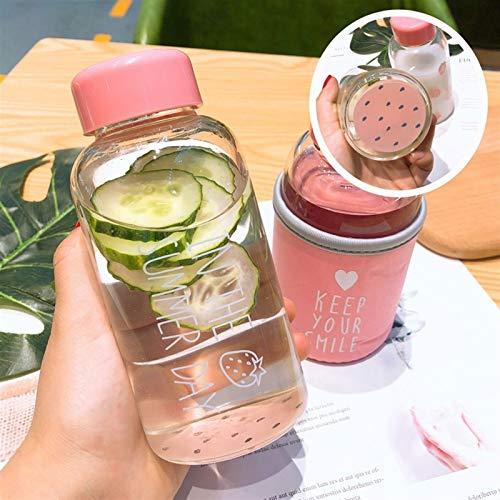 Wasserflasche Kawaii Erdbeere Wasserflasche Karikatur-netter transparenter Glas-Schale mit schützendem Fall Trinkflasche for Mädchen-Studenten-Geschenke (Capacity : 301 400ml, Color : Multi)