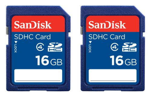 SanDisk 16GB Class 4 SDHC Memory Card 2 Pack 2x16GB FrustrationFree Packaging SDSDB2016GAFFP Label May Change