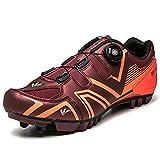 GSYNXYYA Zapatillas de Ciclismo, Racing al Aire Libre Racing Unisex, Suela de Goma Resistente al Desgaste, Zapatos de Bicicleta de montaña de Damas MTB, Plantilla cómoda,Naranja,37 EU