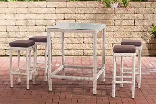 CLP Juego de muebles de jardín de polirratán Alia de 5 mm, con mesa y 4 taburetes de bar, incluye cojín de asiento, color: blanco perla, color marrón