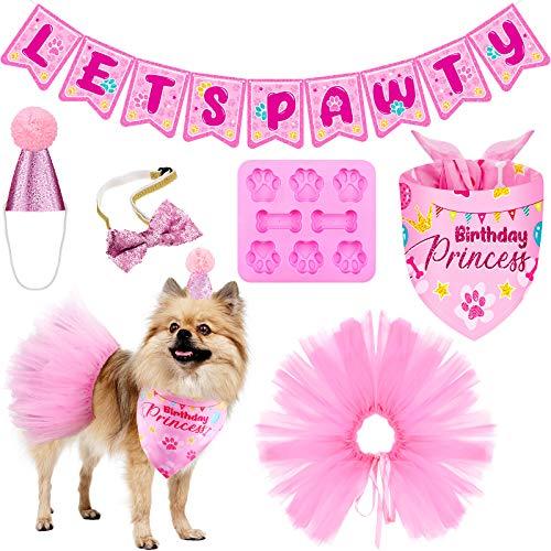 Hund Geburtstag Bandana Hut Set LetsPartyBirthday Banner Mädchen Rosa Tutu Rock Hund Fliege Kragen Knochen geformte Silikonform Hund Geburtstagsfeier Lieferungen