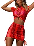 Womens Front Tied Semi Sheer Mesh T Shirt Top Side Lace Up Skirt 2 Piece Clubwear Dress L Red