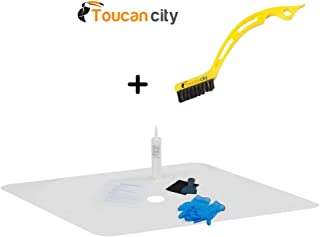 22 in. W x 40 in. L Shower Floor Repair Inlay Kit, White INLAY-WT-2240-1 and Toucan City Tile and Grout Brush