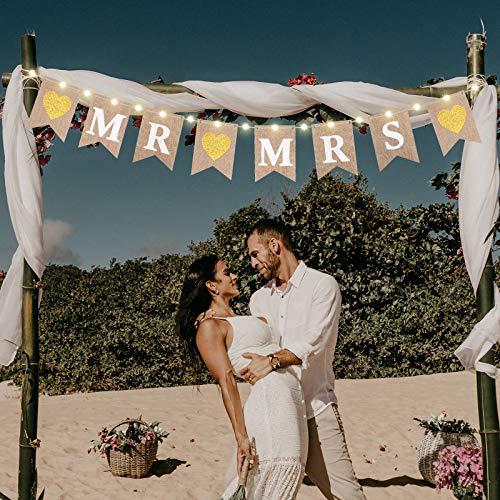 Banner de Arpillera de Mr and Mrs, Banderínes de Boda con Cadena de Luz de Hadas LED 8 Modo de Parpadeo, Guirnalda de Letrero Colgante para Decoración de Despedida de Soltera Boda Coche de Compromiso