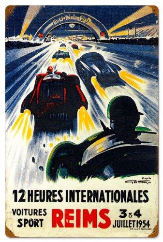 Past Time Signs PTS032 Reims Racetrack Automotive Vintage Metal Sign