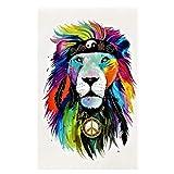 JUSTFOX - Tatuaje temporal de león con plumas, diseño de peace multicolor, tatuaje...