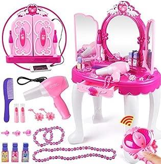 Yosoo Girls Dressing Make Up Table Kids Toy Vanities Pretend Makeup Vanity Table Set