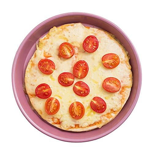 Pizza Horno Redondas Hornada de la cocina Herramientas de 9 pulgadas pizza Bandeja de horno Pie placa de acero al carbono pizza bandeja del horno for hornear molde especial, Rosa Molde para Pizza