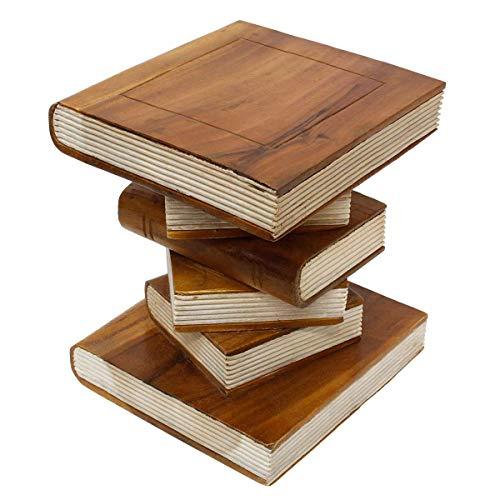 Oriental Galerie Nachttisch Beistelltisch Bücherhocker Tisch Hocker Buch Stapel Massiv Holz 40 cm Hellbraun Creme Inkl. Südostasien Bildband als PDF Datei
