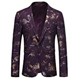 Mens Dress Floral Suit Slim Fit Single Breasted Stylish Casual Printed Blazer Jacket Purple