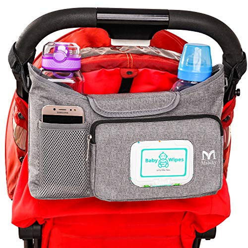 Universal Baby Stroller Organizer | Stroller Accessories Bag | Stroller Storage Bag with Cup Holders by Mahiky | Stroller Organizer Parent Console | Stroller Storage Pouch with Easy Access Pockets
