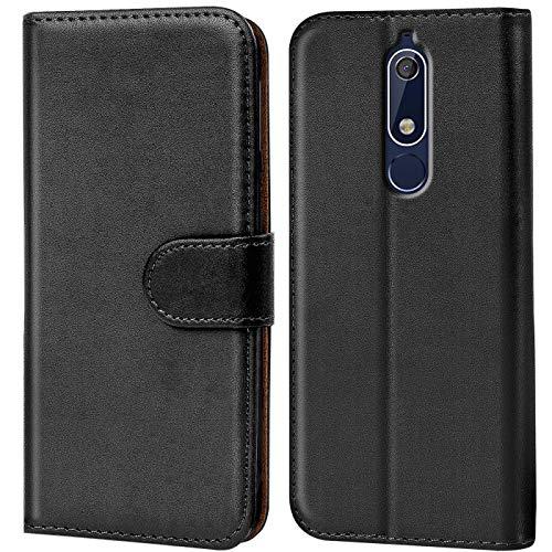 Conie Handyhülle für Nokia 5.1 Hülle, Premium PU Leder Flip Hülle Booklet Cover Weiches Innenfutter für 5.1 Tasche, Schwarz