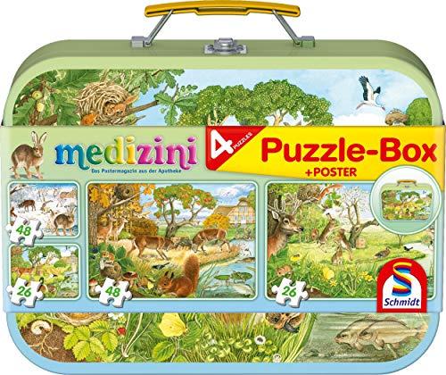 Schmidt Spiele Puzzle 56494 Medizini, Die Vier Jahreszeiten, 2 x 26, 2 x 48 Teile Kinderpuzzle im Metallkoffer, bunt
