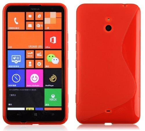 Cadorabo Custodia per Nokia Lumia 1320 in Rosso Cremisi - Morbida Cover Protettiva Sottile di Silicone TPU con Bordo Protezione - Ultra Slim Case Antiurto Gel Back Bumper Guscio