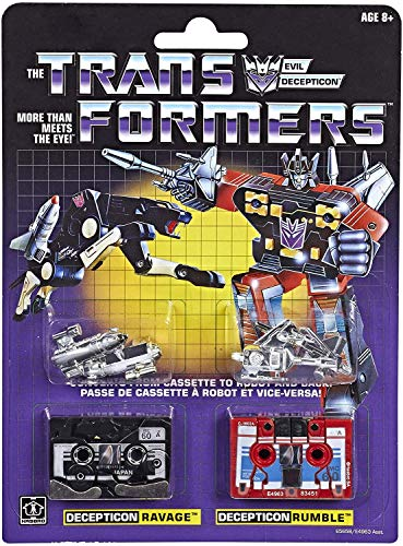 Transformers: Vintage G1 Cassette 2-Pack Decepticons Ravage and Rumble Collectible Figures
