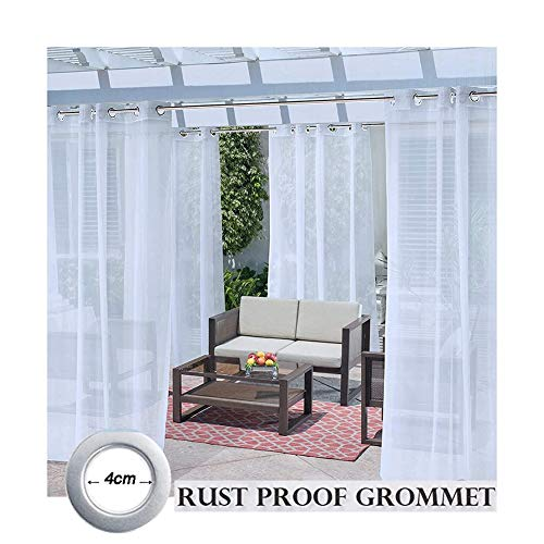 GDMING Outdoor Sheer Curtains For Patio Waterproof 2 Panels Grommets Top Durable Polyester Sun Protection Awning For Porch Gazebo Cabana Balcony, 32 Sizes (Color : White, Size : 4x3m)