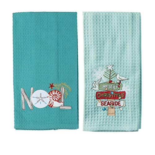 Coastal Christmas Kitchen Towel Set - Bundle Includes (2) Embroidered Kitchen Towels in Different Designs