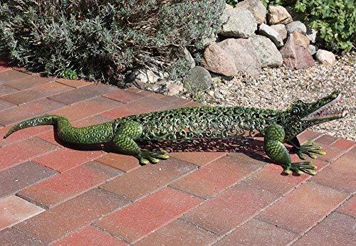 Linoows Figurine de Jardin, Décoration de Jardin, Grand Crocodile Dans Style Maison de Campagne en Fer