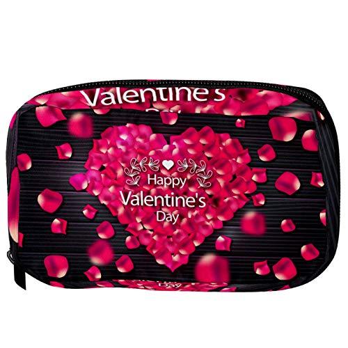 Bolsas de cosméticos con texto en inglés «Happy Valentine's Day Love», retro, de madera, práctica bolsa de viaje para mujeres y niñas