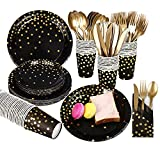 Gexolenu, Black and Gold Paper Plates and Napkins set, 25 sets X 8 items, Gold Dot Disposable Party Dinnerware, including Paper Plates, Napkins,Cups, Plastic Forks Knives and Spoons for Birthday
