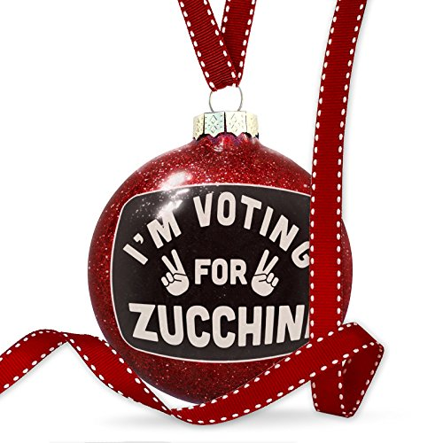 NEONBLOND Christmas Decoration I'm Voting Zucchini Funny Saying Ornament