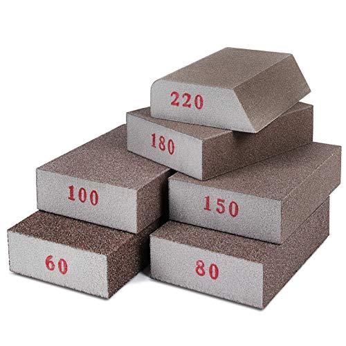 Addicted DEPO Sanding Sponges 6 Pack - Sanding Block Grade Assortment for Woodworking - Reusable Sponge Blocks for Polishing Wood - Medium Fine, Very Fine Grit (60/80/100/150/180/220)