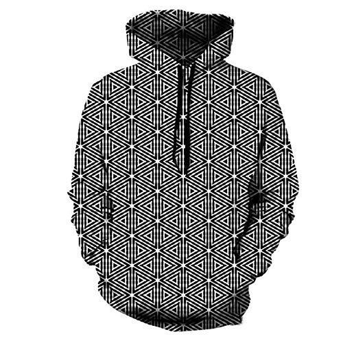 SLYZ Otoño E Invierno Nuevo Suéter De Patrón Geométrico para Hombres Suéter con Capucha De Impresión Digital 3D para Hombres