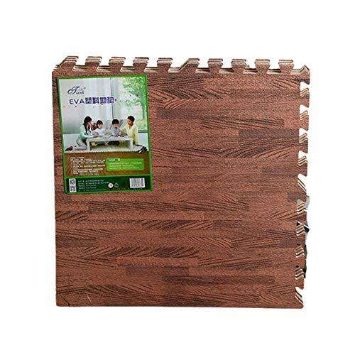 16 Stück Holz Wirkung Puzzlematten,30x30cm x 1.0 cm, Wasserdicht rutschfest Spiel-Matten für Kinder Weiche Puzzle Mats Eva-Schaum-Matten,Babys Schlafzimmer Yoga Turnhalle (Braun)