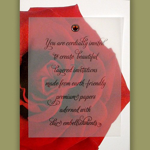 Printable DIY Invitations Kit - Premium 100% Recycled Red Rose with Ruby Crystal Brad (10 count)