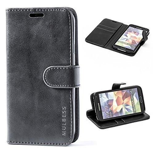 Mulbess Handyhülle für Samsung Galaxy S5 Hülle, Leder Flip Hülle Schutzhülle für Samsung Galaxy S5 Neo Tasche, Schwarz