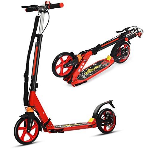 Goplus Monopattino Pieghevole a 2 Ruote con Altezza Regolabile, Scooter in Alluminio con Tracolla e Ruote, per Adulti o Bambini Oltre 8 Anni, 95 x 37 x 86,5-101 cm (Rosso)