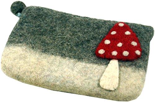 GURU SHOP Filz Portemonnaie Fliegenpilz, Herren/Damen, Weiß, Wolle, Size:One Size, 10x21 cm, Portemonnaies aus Filz
