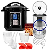 Deco Chef 6 QT 10-in-1 Pressure Cooker Instant Rice, Saute, Slow Cook, Yogurt, Meats, Deserts, Soups, Stews Includes Recipe Book, Tempered Glass Lid, Mitts, Grill Rack, and Steaming Basket