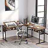 Tribesigns Escritorio de computadora en Forma de L, Mesa de Esquina Moderna para Juegos con Tablero inclinable y Estante de Almacenamiento para Oficina en casa