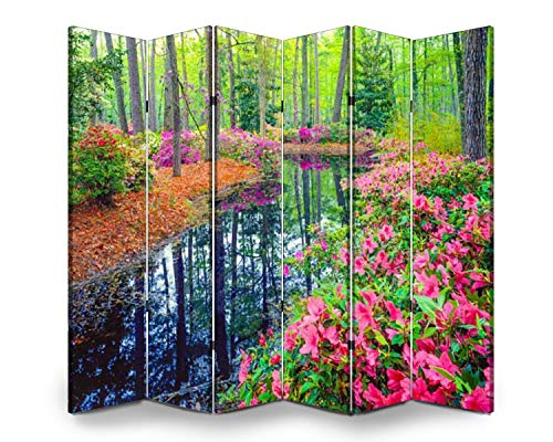 6 Panel Wall Divider Spring in Southern Woodland Garden Folding Canvas Privacy Partition Screen Room Divider Sound Proof Separator Freestanding Protective Divider