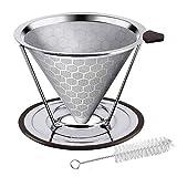Gobesty Filtro de café, filtro de café sin papel con cepillo limpiador de...