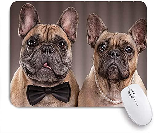 HASENCIV Alfombrilla de Ratón,Lindo Bulldog Pareja Caballero Bowknot Collar Perlas Diseño Humor,Alfombrilla de ratón Gaming,Base de Goma Antideslizante,Mouse Pad para Oficina 24 x 20 cm