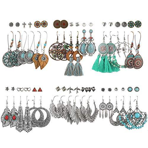Boho Earrings for Women, Funtopia 36 Pairs Fashion Drop Dangle Earrings Vintage Bohemian Statement Stud Earrings for Valentine Birthday Party Gift