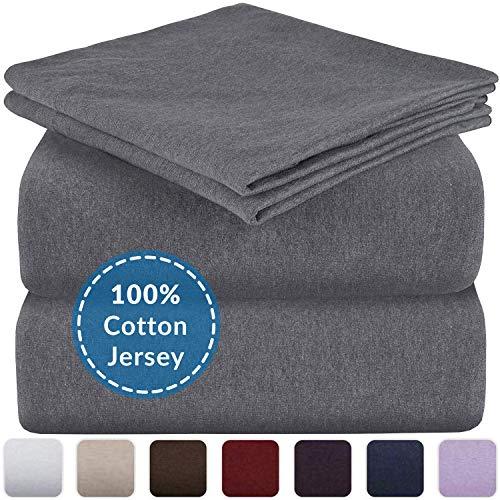 Mellanni Queen Jersey Sheet Set - 4 pc Luxury Heather 100% Cotton Bed Sheets - Soft, Comfortable, All Season Bedding - Deep Pocket - T-Shirt Sheets (Queen, Dark Gray Heather)