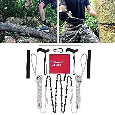 Pocket Chainsaw 48 Inch Long Chain High Reach Tree Limb Hand Rope Chain Saw Tree Cutting Rope Chain,with Blades on Both Sides,Rope Wire Saw Folding Chain for Tree Branche Camping Woodworking (Red)