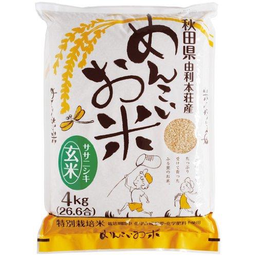 秋田県産 特別栽培米 玄米 ササニシキ 無農薬 無化学肥料 めんこいお米 20kg 令和元年産