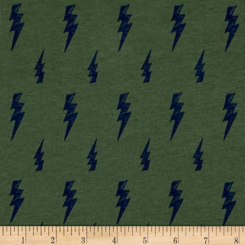 Fabric Merchants Cotton/Lycra Spandex Jersey Knit Thunderbolt, Yard, Sage
