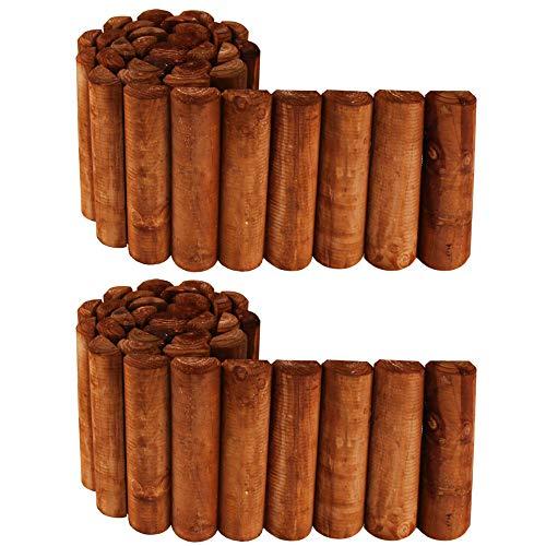 PlantBox Flexibler Kiefernzaun 200 + 200 cm (2 Stücke, kürzbar) aus Holz | als Steckzaun Rollborder | Beeteinfassung | Kanteneinfassung |Rasenkante oder Palisade | wetterfest imprägniert, Höhe:20 cm