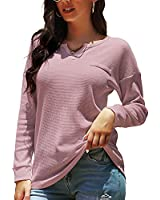 KONCLE Dressy Tops for Women Long Sleeve T Shirts Waffle Knit V Neck Womens Winter Clothes Casual Fall Outfits Pink M
