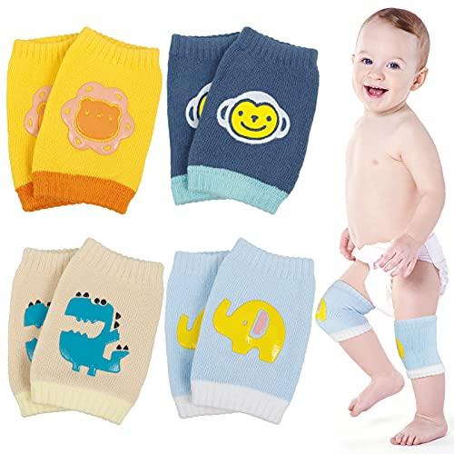 tiopeia 4 Paar Baby Mädchen Knieschoner, Baby Junge Krabbeln Knieschoner, Anti Rutsch Krabbelhilfe Baby Knieschützer mit Gummipunkte fr 0-24 Monate Jungen und Mdchen