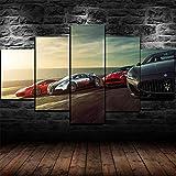 IKDBMUE Cuadro sobre Impresión Lienzo 5 Piezas-Mural Moderno 5 Piezas,Super Sports Cars Race Dormitorios Decor para El Hogar -No Tejido Lienzo Impresión-Modular Poster Mural